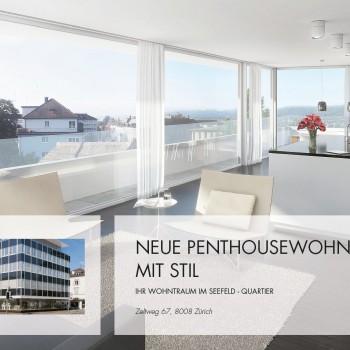 Zeltweg Zürich – Immobilien Flyerdesign Dokumentation